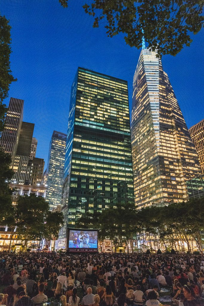 Bryant Park New York Movie night