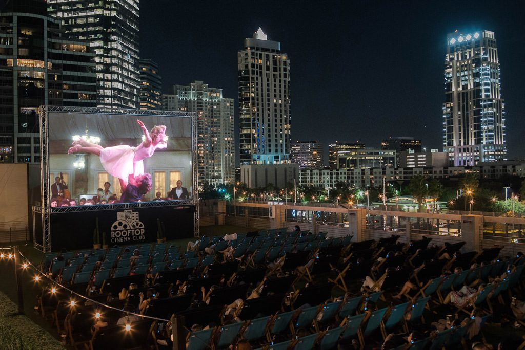 Rooftop Cinema Club outdoor movie night, Houston.