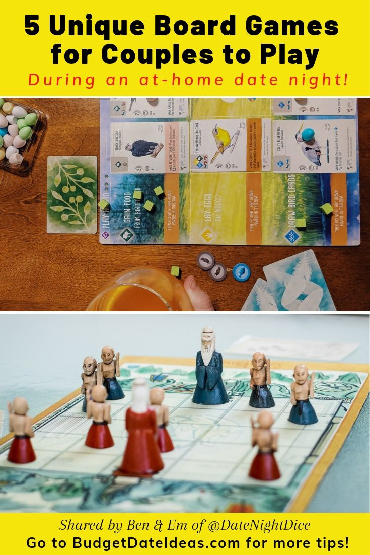 Ben & Em of @DateNightDice share their favorite unique board games for couples to play on a relaxing (and budget-friendly!) at-home date night! The list includes Onitama, 7 Wonders Duel, Chronicles of Crime, Wingspan, and Viticulture. Read why these are awesome games!