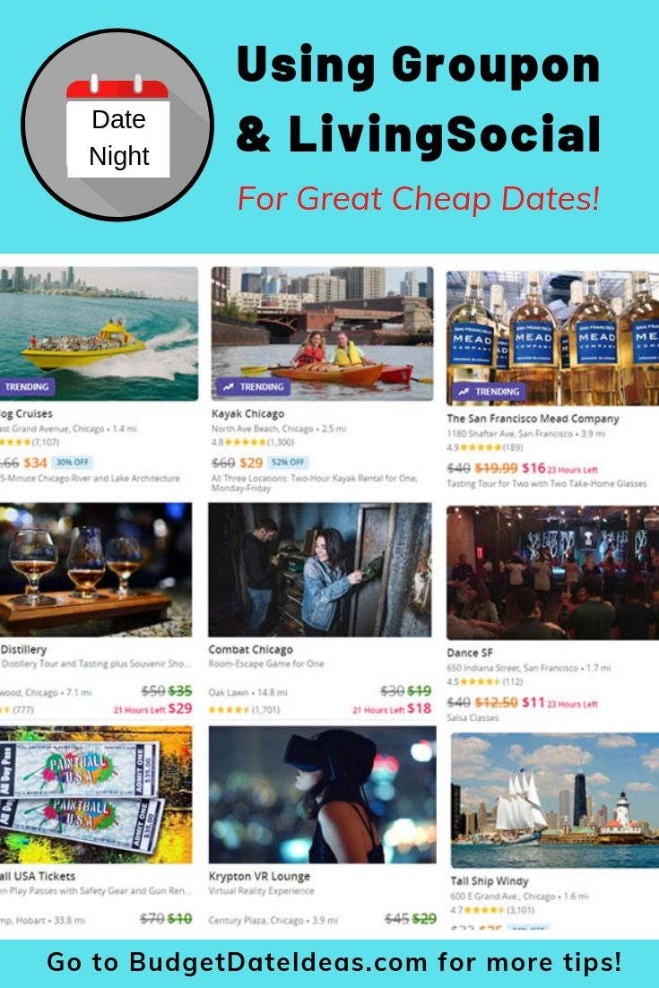 Need ideas for cheap dates? Try diving into the hundreds of options of Groupon and LivingSocial deals to find some great date ideas at discounted rates!